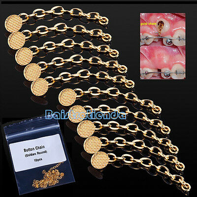 10Pcs/Pack Dental Orthodontics Traction Round Button Chain Golden Mesh Base
