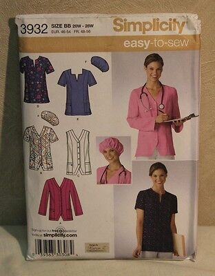Simplicity 3932 Uncut Women's PLUS Size 20w - 28w Scrubs Tops Hat Sewing Pattern