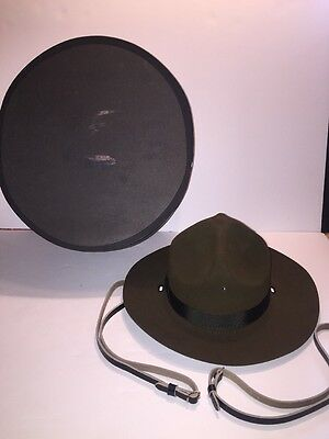 Vintage Campaign Hat Military Trooper Ranger Scout ? Made In USA w/ Strap & Box