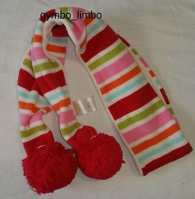 Gymboree Outlet Cozy Cutie Girls One Size Multi Color Striped Pom Pom SCARF