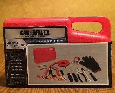 CAR AND DRIVER® Roadside Emergency Kit Tools Travel Portable Case - 30 Piece Set