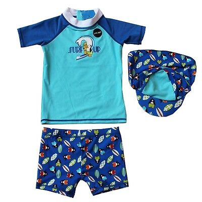Baby Little Boys Rashguard Swim Set 3pc Swimwear Swimsuit Penguin