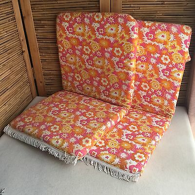 2X Vintage RETRO Flower POWER Terry TOWEL Floral OUTDOOR Patio CHAIR Cushions