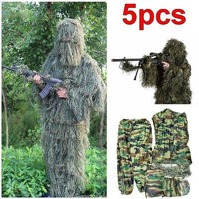 Hunting Woodland Camo Sniper Ghillie Suit Archery Sniper Camouflage Clothing 5p