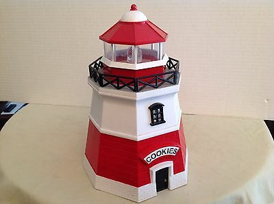 """Vintage Original lighthouse cookie jar sound and lights when opened FUN! 11"""""""