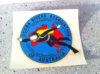 Old Vintage Australian Scuba Divers Assoc. Window Transfer Sticker Diving