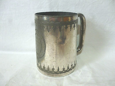 "RARE ANTIQUE VICTORIAN era pewter silvered SWIMMING PRIZE trophy 4""high tankard"