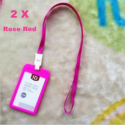 2 x Plastic Business ID Badge Card Vertical Holders with Strap Lanyard Pink