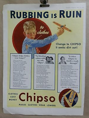 Vintage 1933 Chipso Laundry Soap Advertising Print Ad.