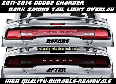 2011 2012 2013 2014 Dodge Charger Tail Light Dark Smoke Overlay Tint smoked out