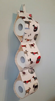 Toilet roll paper holder spare wall storage hanger Handmade 4 Dog lovers Drill