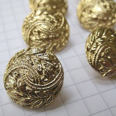10 Small Metal Gold Leaf Motif Buttons