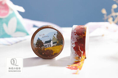 Autumn Deciduous forest Washi paper Masking Tape stickers Scrapbook crafts Label