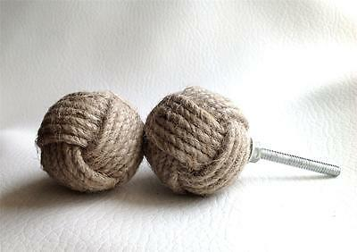 Hand-crafted Jute Rope Nautical Cabinet Knot Knobs Drawer Pulls