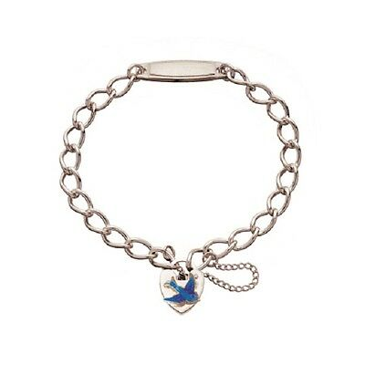 Childs/toddlers 925 Silver Identity Bracelet With Enamelled Bluebird Padlock