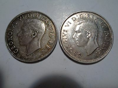 2 Coins 1940 & 1950 Canadian Silver Half Dollars
