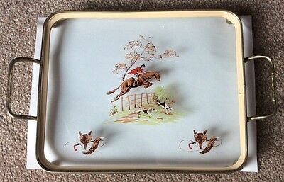 Vintage Oblong Glass Tray Fox And Hounds Hunting Scene Hand Painted Effect