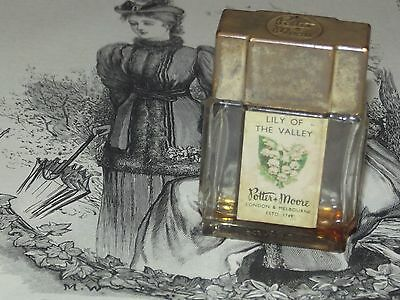 Vintage POTTER & MOORE LILY OF THE VALLEY PERFUME BOTTLE Old Collectable (MP1)