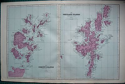 1884 Large Antique Map-Bacon -The Orkney/shetland Islands