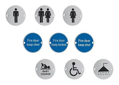 Facilities Door Sign Toilet, WC, Male, Female, Unisex, Disabled, Fire, Round 3""