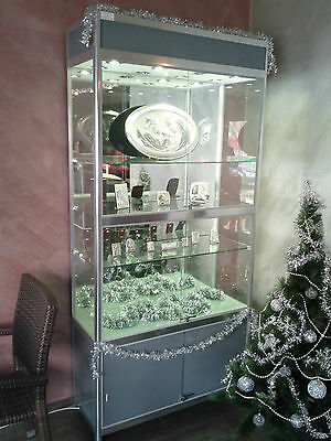 ALUMINIUM SHOWCASE GLASS DISPLAY CABINET H1950mm / W900mm / D300mm - 1 piece