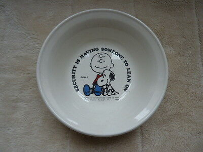 Vintage Snoopy And Charlie Brown Bowl Security Is Having Someone To Lean On