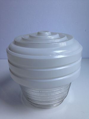 Vintage Retro Glass Shade White & Clear Glass Ceiling ART DECO Style