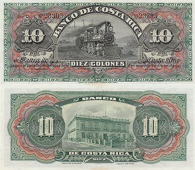 "Costa Rica 10 Colones Banknote (1901-08) Uncirculated Condit,Cat#S-174-R""Train"""