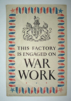 Rare Original WW2 Poster This Factory on War Work Home Front