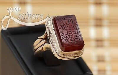 Rare islamic Ring 925 Sterling Silver Authentic Yemeni Aqeeq Real hand engrave 1