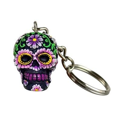 Hand Painted Polyresin Sugar Skull Keychain - Purple