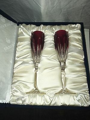 Faberge Lausanne Pair Of Red Champagne Flutes In Original Velvet Case