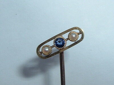 Antique Victorian 9ct Gold Sapphire Seed Pearl Stick Pin