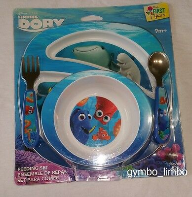 The First Years Disney Pixar Finding Dory PLATE BOWL SPOON FORK Feeding Set New