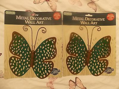 2 x Metal Decorative Wall art - Butterfly Hanging Decoration