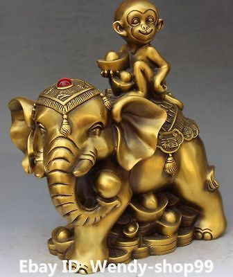 "12"" Chinese Pure Hand Wealth Yuanbao Auspicious Elephant King Animal Fu Statue"