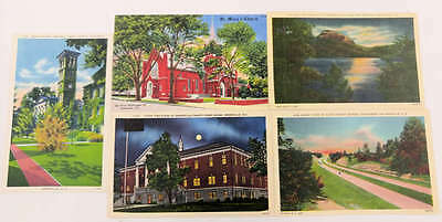 Group of 5 Greenville South Carolina Scenic View Linen Postcards J62395