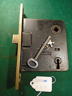 VINTAGE CORBIN MORTISE LOCK w/ KEY  - RECONDITIONED - WORKS GREAT!   (7205-A)
