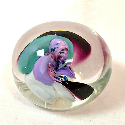 """Studio Art Glass Colorful Flower Paperweight, Signed by Artist, 2"""" x 3"""""""