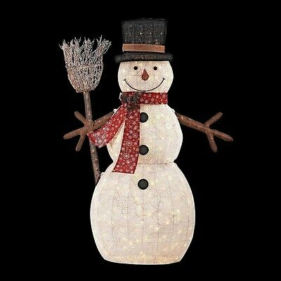 72 in. Christmas LED Lighted PVC Cotton String Snowman Yard Decor with Broom New