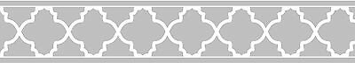 Sweet Jojo Designs Gray and White Trellis Collection Prepasted Wall Paper Border