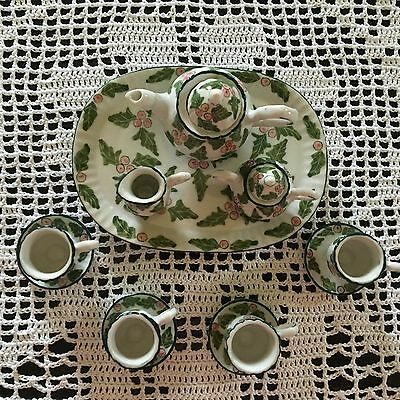 Mini Holly Tea Set with Tray, Excellent Condition, from Private Collection
