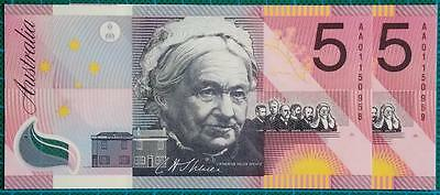2001 Five Dollars Centenary of Federation Banknotes AA01 First Prefix Pair - UNC