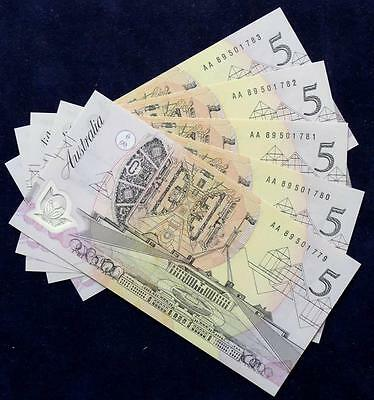 1992 Australia Five Dollars Polymer Notes x 5 - AA89 - Mint Uncirculated