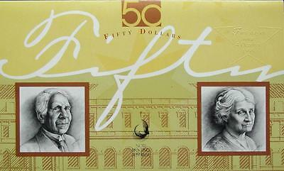 1995 Australia Fifty Dollars Last and First Banknote Collectors Folder - NPA