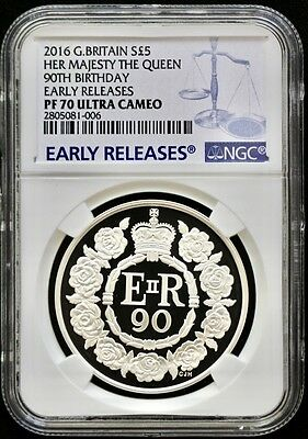 2016 Britain Silver £5 Her Majesty Queen 90th Birthday NGC PF70 ER-PRICE REDUCED