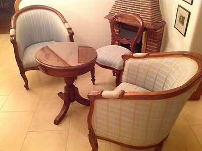 Mahogany Drum Table ,2 Upholstered Bucket Chairs ,one Upholstered  Upright Chair