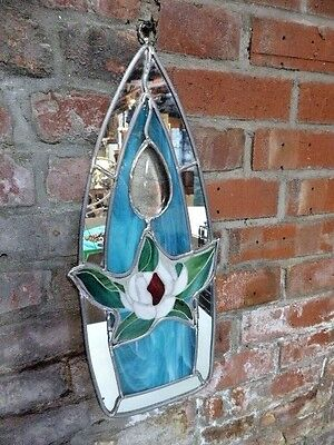Hand Made Stained Glass Wall Hanging Mirror Mosaic Awesome Lotus Flower Motif