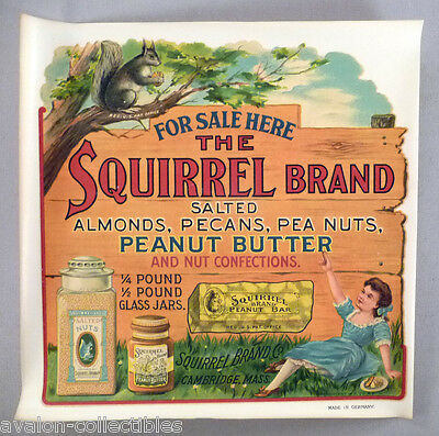 Squirrel Brand WINDOW SIGN - c. 1900 ~~~ peanut butter, nut candy bar, pea nuts
