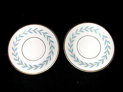 2 Syracuse China Old Ivory Tea Cup Saucers Only Sherwood Pattern Blue Laurel EUC